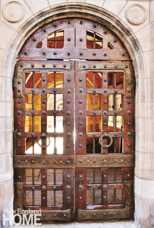 A historic restoration of the Saybrook College gates at Yale University.