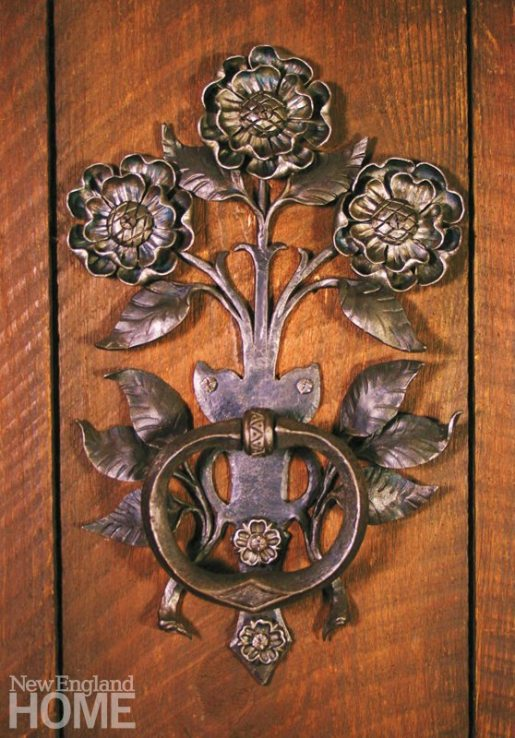 A hand-forged decorative door pull, inspired by door hardware on the personal chapel of architect Ralph Adams Cram.