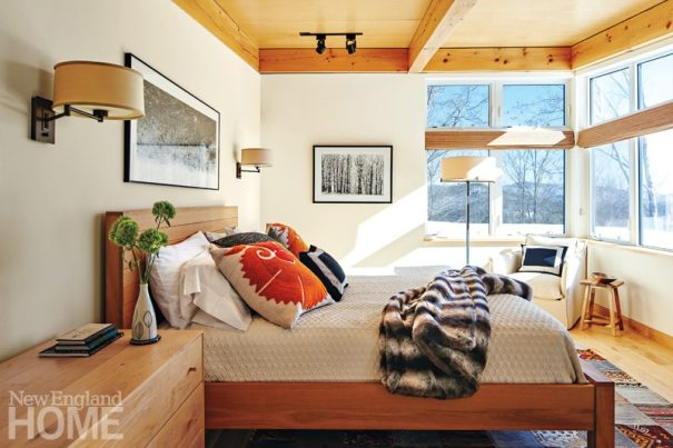 Wood details punctuate the master bedroom.