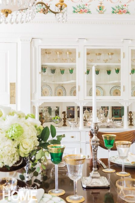 """""""I love to set beautiful tables,"""" says Whalen, who also enjoys flower arranging. Antique silver candlesticks and flatware make every occasion in the dining room more special. The silver tea service is a treasured family heirloom."""