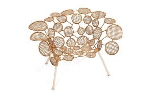 Campana Brothers, Racket Chair (Circles) in iron, brass, woven wicker