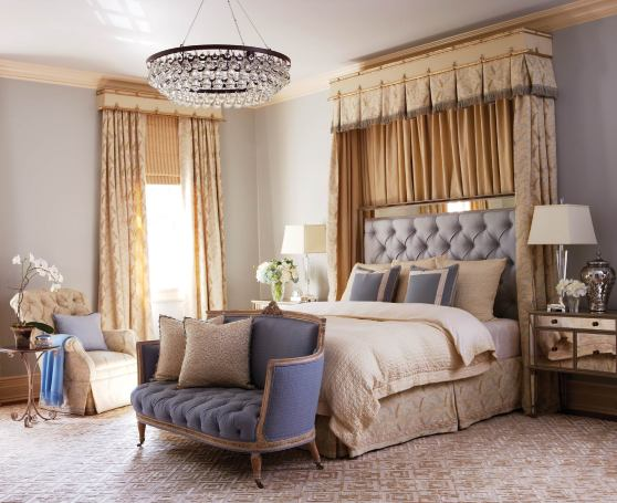 Mirrored nightstands elevate the master bedroom'€™s glamour quotient.