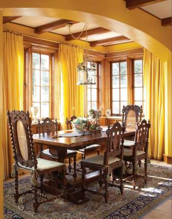Informal dining takes place in the breakfast nook, tucked into an alcove in the kitchen suite.