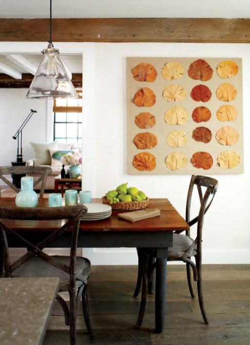 Distressed pieces, like the dining table and chairs, suit Kolb's aim of keeping things simple and functional.