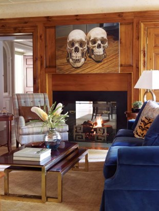 Bold colors and warm wood set a cozy tone in the library.
