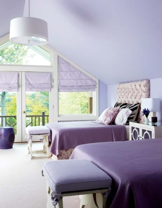 The girls share a room outfitted in lavender.
