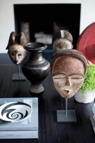 African masks add interest.
