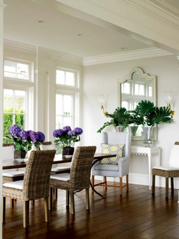 Adjacent to the living room, a dining alcove invites frequent entertaining.
