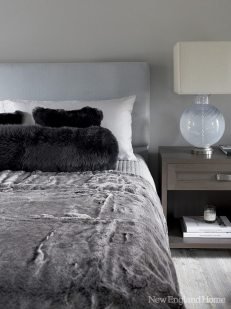 The soft, moody-sexy palette continues in the master bedroom and bath.