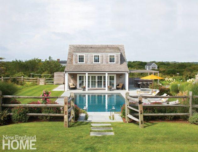 Contemporary Nantucket Shingle Style Pool