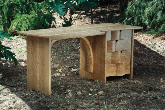 Desk, curly white oak