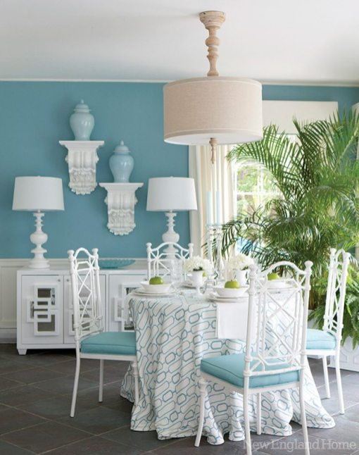 Bright white and luscious aqua perfectly suit the airy sun porch designed by Keatha McCue and Cynthia Kranz.