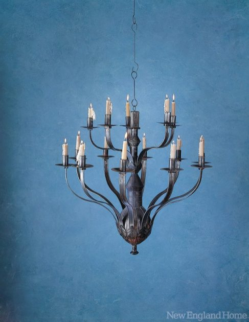 A reproduction chandelier, also available in an electrified version, is based on an original from the Metropolitan Museum of Art.
