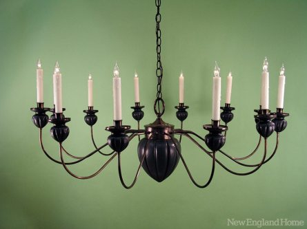 Based on a nineteenth-century original, this reproduction chandelier features a hand-carved acorn squash center body and bobeches.