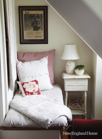 A corner reading nook in a guest bedroom.
