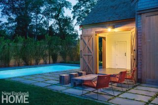 Kimberly Mercurio Cape Cod Landscape Design Barn Exterior Seating Area
