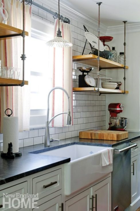 Kitchen with floating wooden shelves