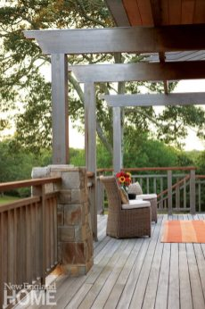 Outdoor space of Frank Lloyd Wright inspired home on Martha's Vineyard designed by Debra Cedeno