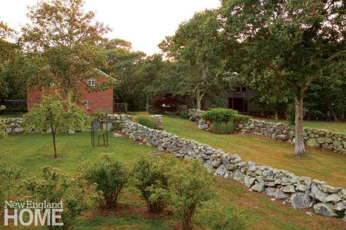 Stone walls of Frank Lloyd Wright inspired home on Martha's Vineyard designed by Debra Cedeno