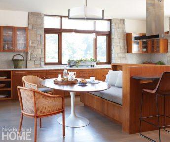 Kitchen of Frank Lloyd Wright inspired home on Martha's Vineyard designed by Debra Cedeno