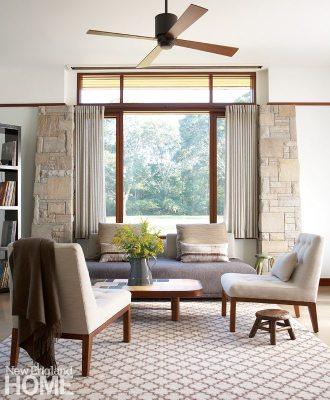 Sitting area of Frank Lloyd Wright inspired home on Martha's Vineyard designed by Debra Cedeno