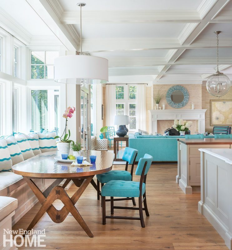 hickory chair banquette metal frame leather galleries new england home magazine dan koppen rhode island shingle style kitchen dining area