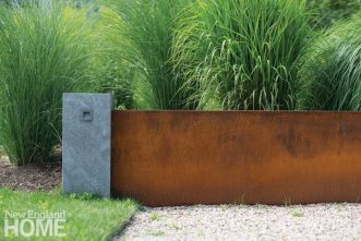 Gregory Lombardi contemporary landscape steel retaining wall