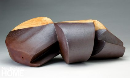 malcolm-wright_Pod Form #3 (2014), extruded, cut, assembled clay with white and red slip
