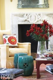 Litchfield County Neoclassical Living Room Fireplace