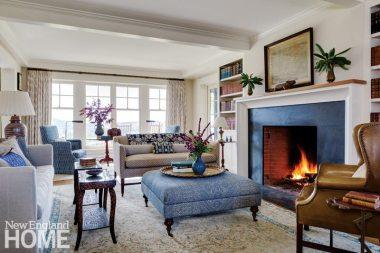 Sheldon Penoyer New Hampshire Farmhouse Blue and White Living Room