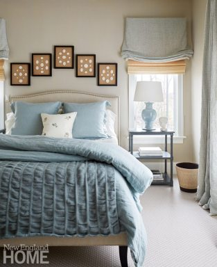 Updated traditional Powder Room Blue and Cream Bedroom