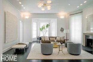 Modern and Minimalist Townhouse Boston Living Room
