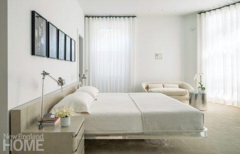 Modern and Minimalist Boston Townhouse Neutral Master Bedroom