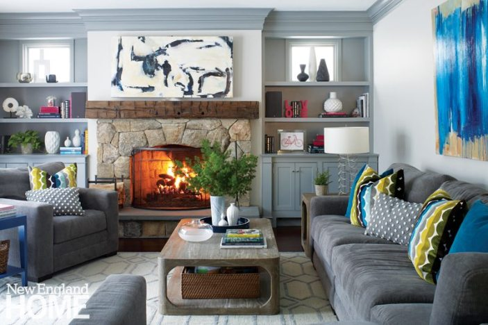 A large chenille sectional and armchairs ensure the whole family—and then some—can relax in front of the family room's fire.