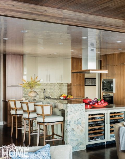 Contemporary and Family Friendly Boston Condo Contemporary Kitchen with Wood and Glass Tile