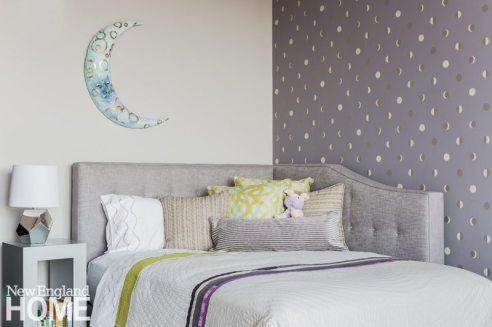 Contemporary and Family Friendly Boston Condo Girl's Bedroom with Custom Headboard