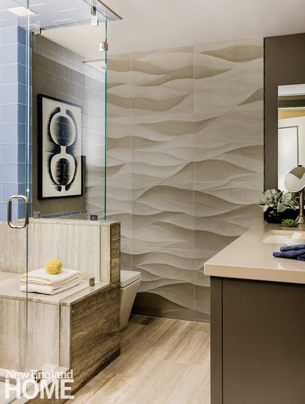 Contemporary and Family Friendly Bathroom with Marble Tile