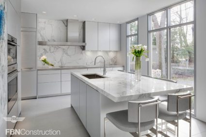 Modern white kitchen built by FBN Construction