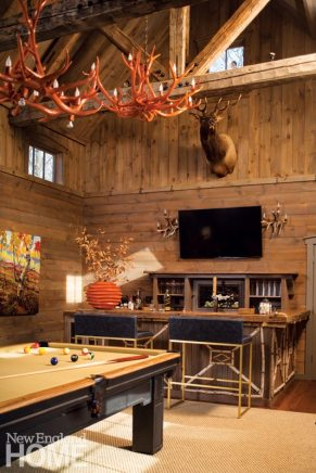 Rustic Farmhouse Washington Connecticut Great Room with Orange Antler Chandelier