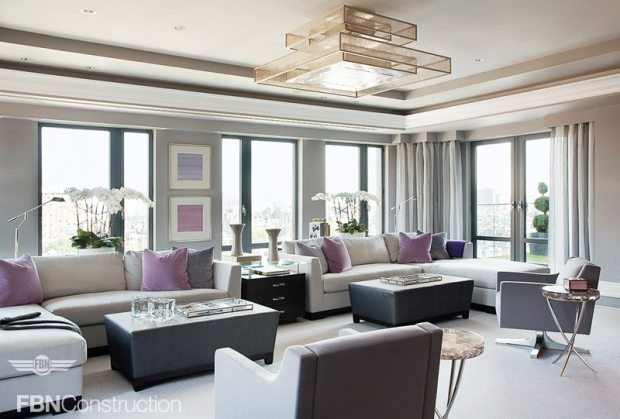 Gray and Lavender Living Room Built by FBN Construction