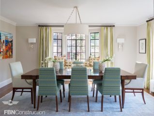 Transitional style dining room in blue and green built by FBN Construction