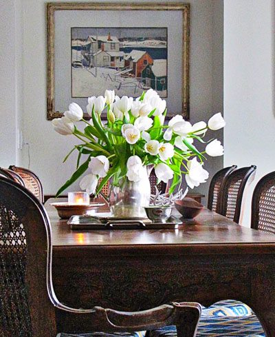 winter floral arrangements in silver and white White Tulips in Silver Vase