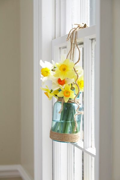 Daffodil bouquet in a sunny window