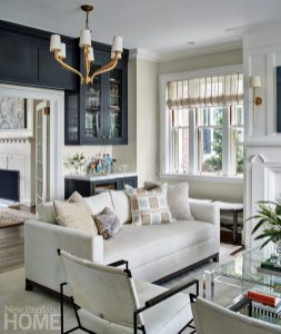 Hingham Tudor Style Living Room with Bar