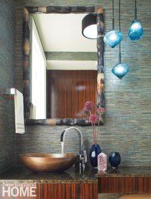 Family Friendly Condo Powder Room with Copper Vessel Sink