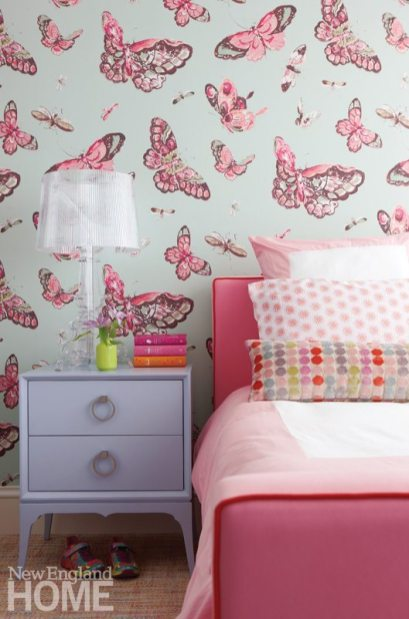 Family Friendly Condo Girl's Room with Butterfly Wallpaper