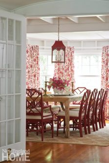 Coastal Maine Red and White Dining Room