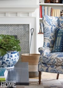 Nantucket Home Winged Back Chair in Blue and White