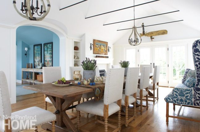 Nantucket Home Neutral Dining Area with Large Table