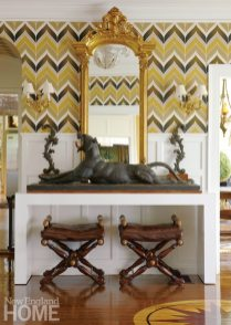 Kellie Burke Foyer with Chevron Wallpaper